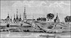 Віцебскі Свята-Троіцкі Маркаў манастыр. Гравюра 19 ст.